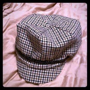 Houndstooth paperboy hat